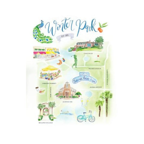Winter Park Watercolor Map