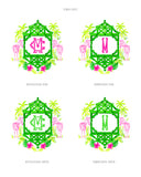 Pink and Green Zebra Crest Gift Tags