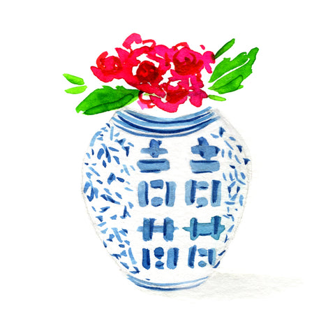 Ginger Jar with Pink Flowers Stickers
