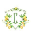 Lemon Monogram Crest Stickers