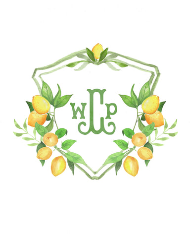 Lemon Monogram Crest Print