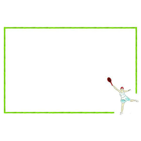 Tennis Girl with Green Tennis Balls Note Cards