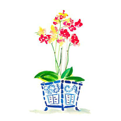 Orchid in Blue Pot Print