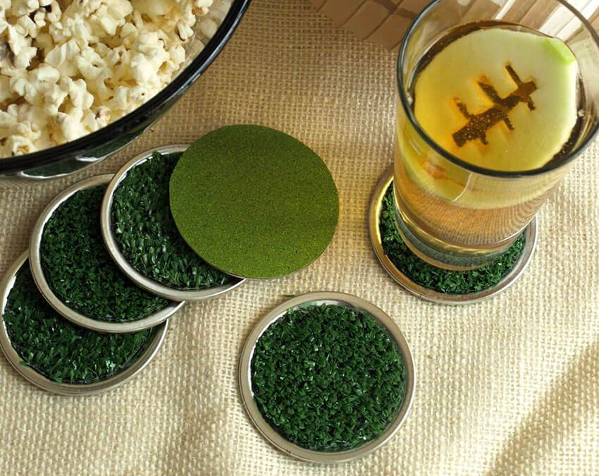 Glass Coasters | Artificial Grass weird Cuts