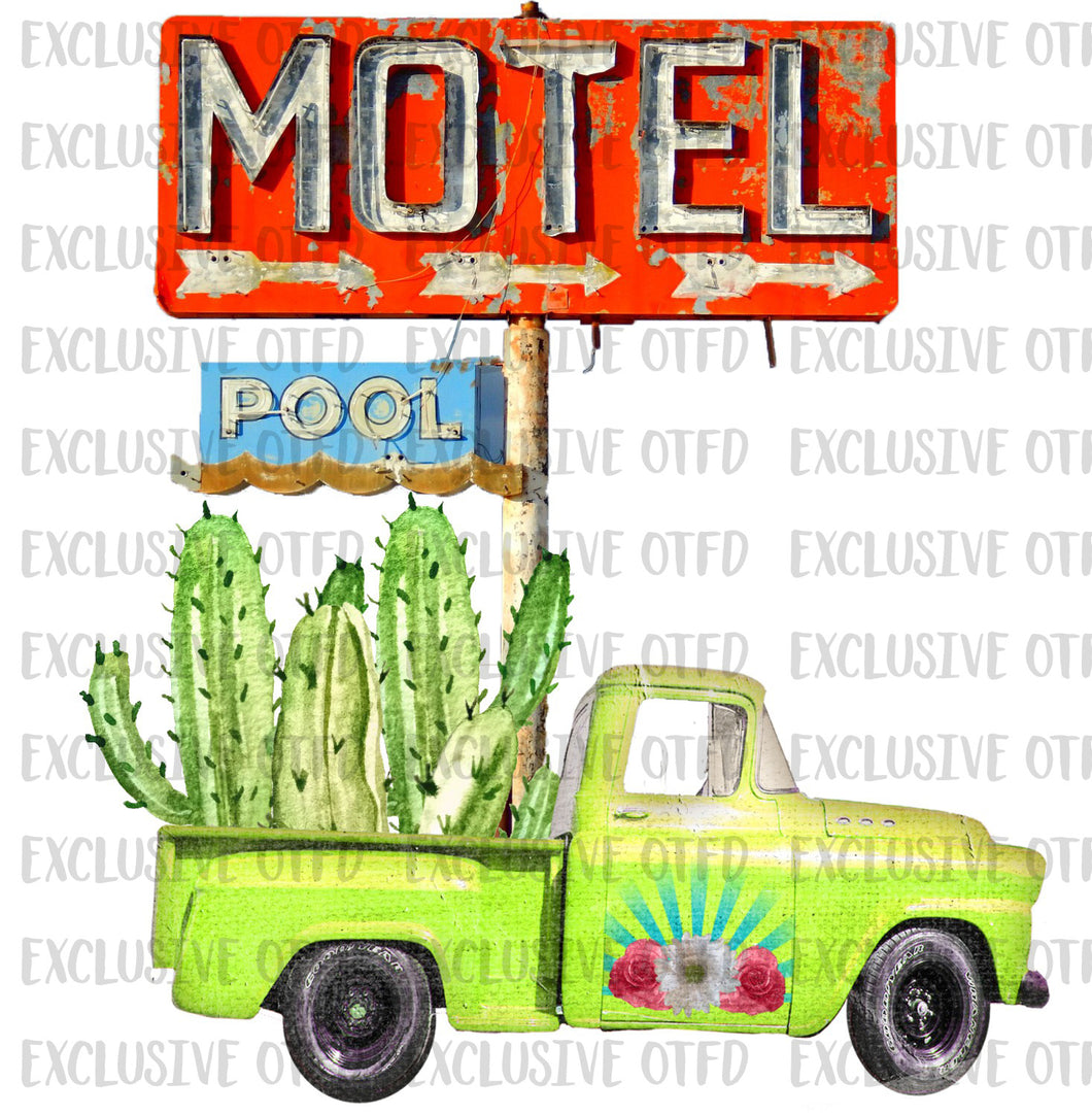 Motel sign with truck
