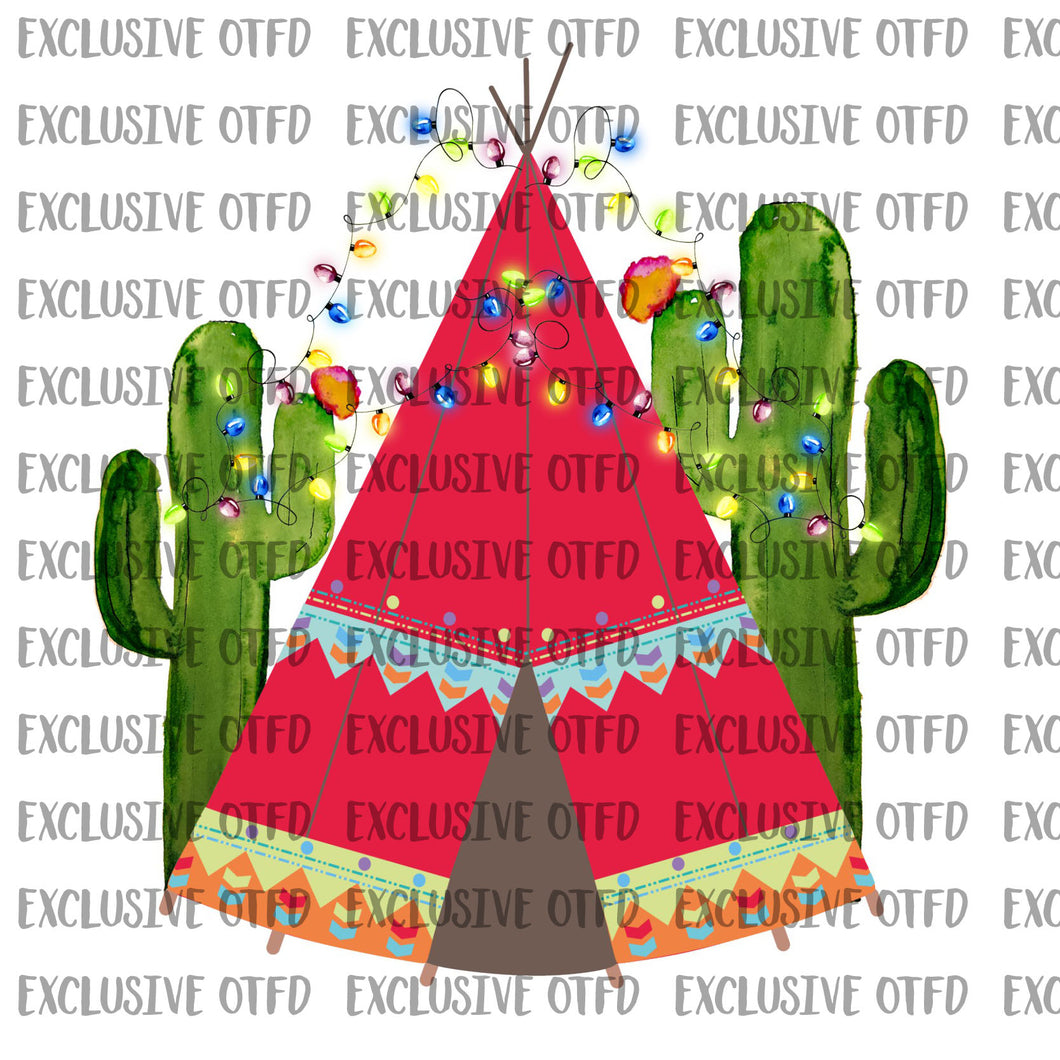 christmas teepee with cactus