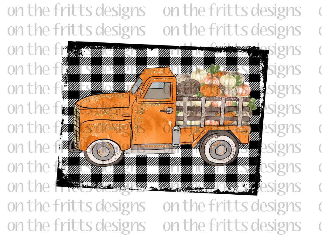 Truck with pumpkins and plaid background
