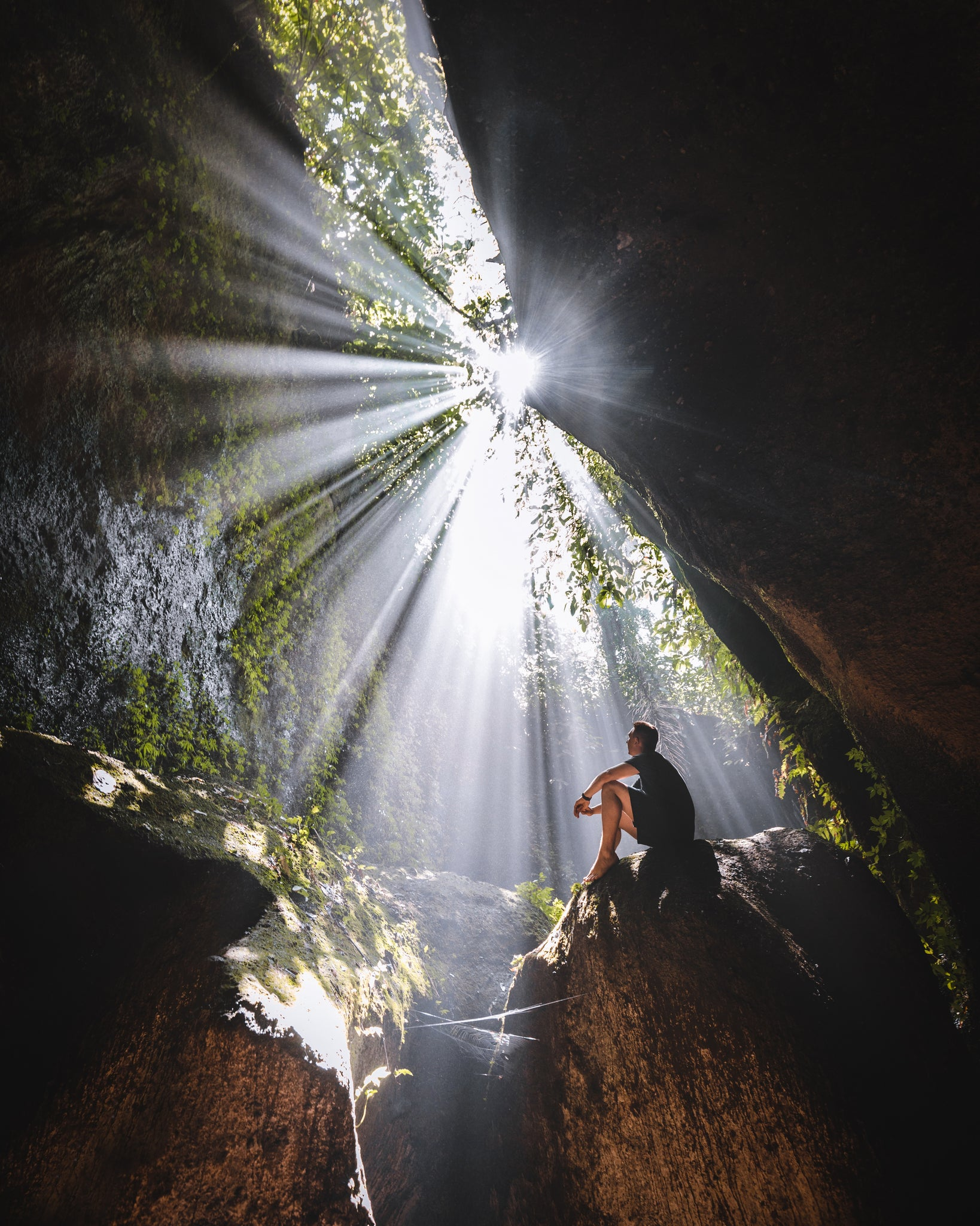 Tukad Cepung Waterfall Light Rays Bali