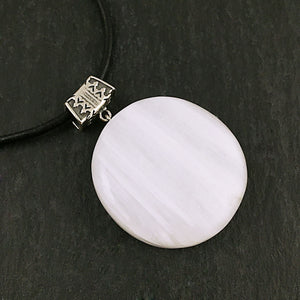 Scolecite and sterling silver pendant