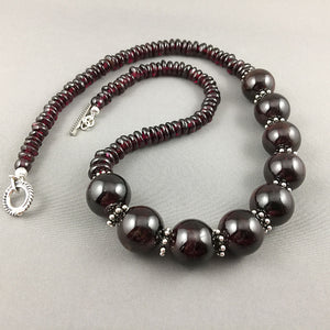 Garnet and sterling silver necklace