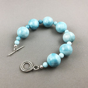 Blue river stone and sterling silver bracelet