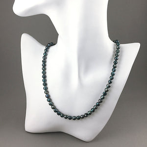 Faceted pearls and sterling silver necklace