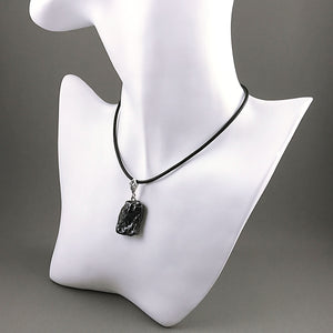 Natural hematite and sterling silver pendant