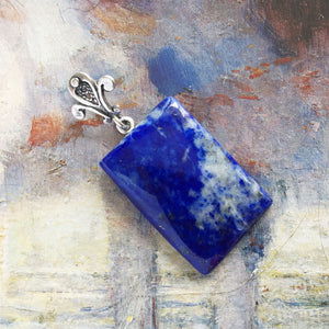 Lapis lazuli and sterling silver pendant