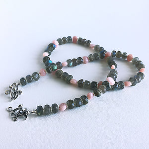 Labradorite and pink opal necklace