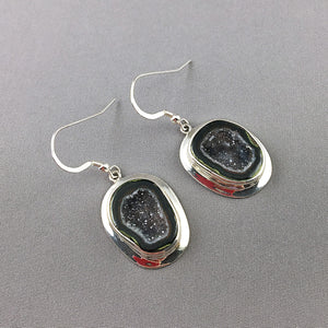 Tabasco geode and sterling silver earrings