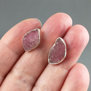 Pink tourmaline and sterling silver set