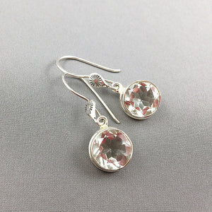 Faceted prasiolite (green amethyst) and sterling silver earrings