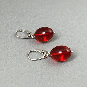 Red amber and sterling silver earrings