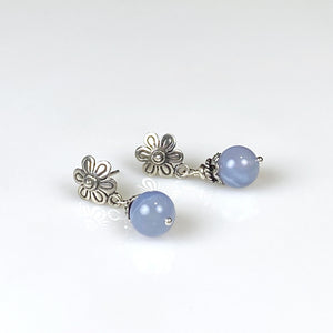 Blue chalcedony and sterling silver earrings