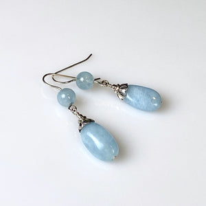 Aquamarine and sterling silver earrings