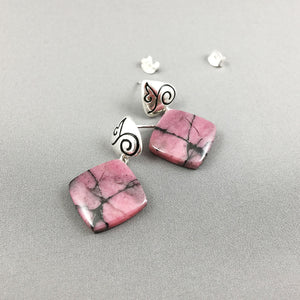 Rhodonite and sterling silver earrings