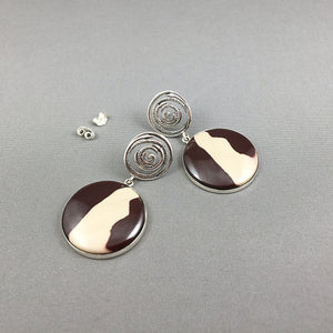 Australian zebra stone and sterling silver earrings