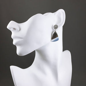 Blue Owyhee opal and sterling silver earrings