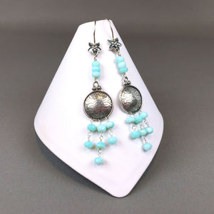 Peruvian blue opal and sterling silver earrings