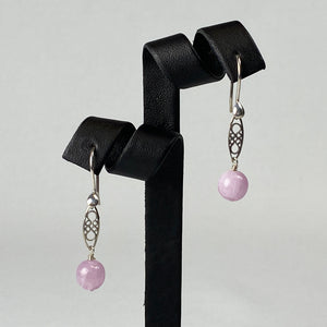 Kunzite and sterling silver earrings