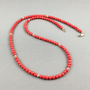 Red coral and gold-filled necklace