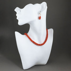 Red coral and gold filled jewelry set