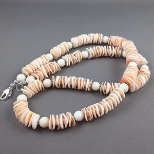 Queen conch shell and white coral necklace