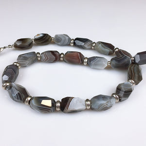 Botswana agate and sterling silver necklace