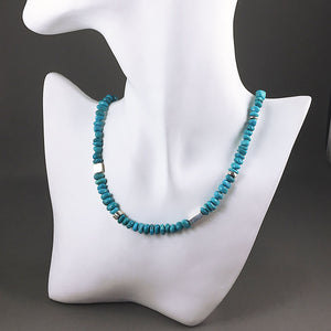 Natural turquoise and sterling silver necklace