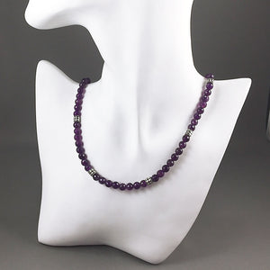Grade AA amethyst and sterling silver necklace