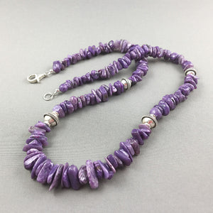 Charoite and sterling silver necklace