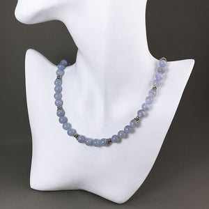 Blue chalcedony and sterling silver necklace