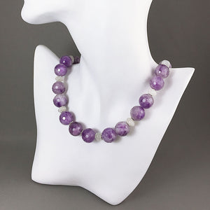 Amethyst, moonstone and sterling silver necklace