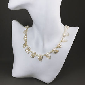 Blister pearls and sterling silver necklace