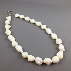 White mother of pearl and sterling silver necklace