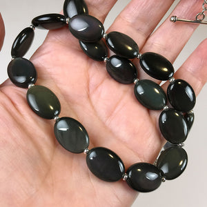 Rainbow obsidian and sterling silver necklace