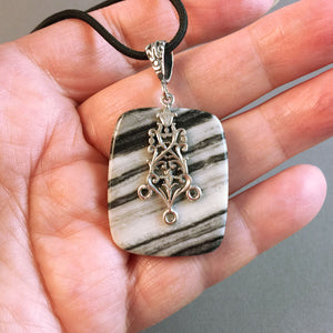 Zebra jasper and sterling silver pendant