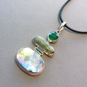Green onyx, abalone, and green kyanite silver pendant
