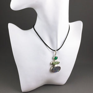 Abalone, green kyanite, green onyx and sterling silver pendant