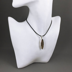 Faceted smoky quartz and sterling silver pendant