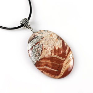 Snakeskin jasper and sterling silver pendant