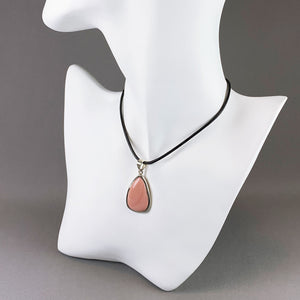 Australian pink opal and sterling silver pendant