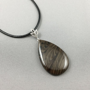 Chocolate jasper and sterling silver pendant