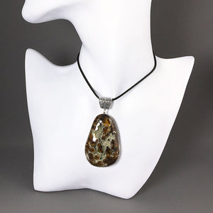 Large simbircite and sterling silver pendant